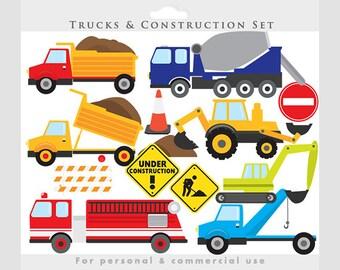Trucks clipart - construction clip art, backhoe, excavator, fire engine, fire truck, vehicles, dump truck, transportation, for boys