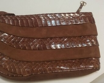 Vintage valentino suede and snake clutch purse