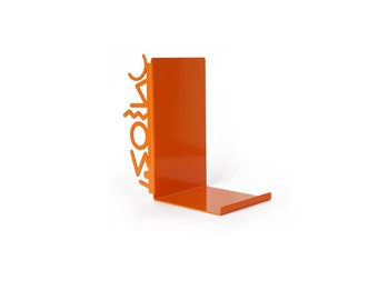 Orange Metal Bookend - Memphis Style Bookend, Orange Bookend, Memphis Design, Pop Art Style, Cool Gift, Kids Bookends, Kids Decor