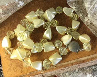 Lemonade Yellow Faceted Lucite Bead Necklace Unsigned Single Strand 1960's 1970's Summery Simple Design Feminine Woman
