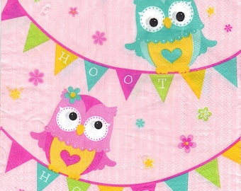 PRETTY OWL towel paper lunch 33 X 33 1 339