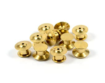 10 Pcs. Raw Brass Lapel Locking Pin Back Clutch 1 Hole Pins