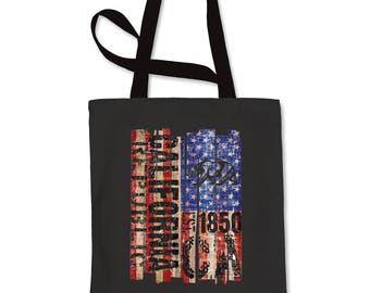 USA Flag California Bear Shopping Tote Bag