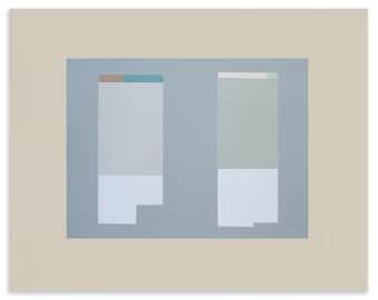 Minimal art in greys, modern abstract screenprint, blocks, architecture by Emma Lawrenson