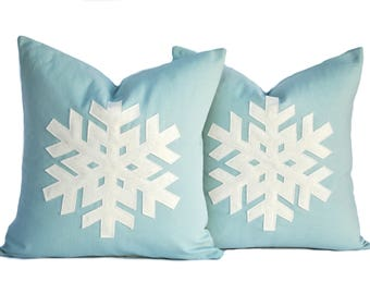 Two blue Snowflake Christmas Pillow covers, 20x20, holiday pillow, decorative pillow, cushion, Christmas decoration