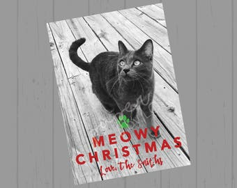 Christmas Customized Pet Cat Printable Card Meowy Christmas