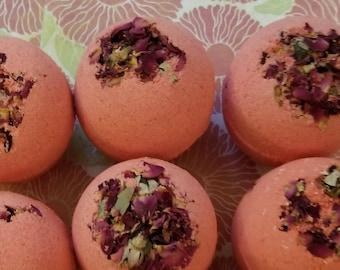 Rose Bath Bombs w/ Dried Rose Petals