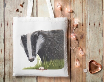 Badger, Tote Bag, Badger Gift, Cute Tote, Northumberland Gift, Woodland Animals, Badger Lover gift, Cloth Tote, Badger Pencil Drawing