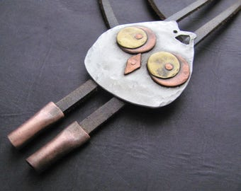 Handmade Bolo tie, Fashion bolo tie, Necktie, Jewelry bolo tie, Leather Bolo Tie, Silver bolo tie, Brass bolo tie, Owl Pendant Necklace