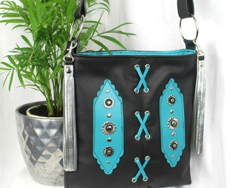 Black Leather Crossbody Bag, Hip Bag, Shoulder Bag, Tassel Bag, Kanza Bag