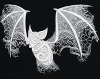 Ghost Baroque Bat Embroidered Flour Sack Hand/Dish Towel