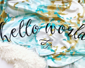 Baby Blanket, Map Baby Blanket, Minky Baby Blanket, World Map, Baby Bedding, Baby Boy Bedding, Green, Teal, Aqua, Hello World, Baby Gift