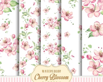 Watercolor Pastel cherry blossom Pattern, Watercolor flower Digital paper, Watercolor Floral Seamless Pattern, Cherry blossom Digitar Paper