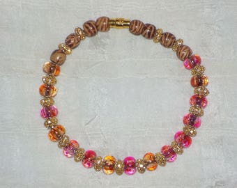 Fancy Schmancy Beaded Dog ~ Cat Collier (Rose, Tiger Striped & Gold Glamor Necklace)