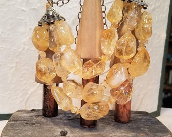 Tumbled Citrine and Bali Silver Three Strand Necklace