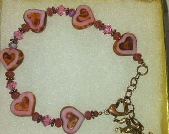 Beaded Czech Heart Bracelet wi Swarovski Crystals and Fox Charm 7 1/2 Inches
