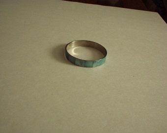 "1960-1970's  Green ENAMEL Marble tone Shiny BANGLE Bracelet (fits wrist up to 9"") Rare, Gorgeous"