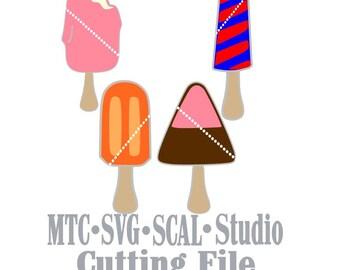 SVG Cut Files Amusment Park Ice Cream Popsicles Digital MTC SCAL Cricut Silhouette Cutting File