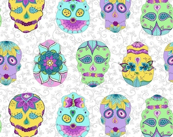 Sugar skulls fabric by the half yard, skulls cotton, fancy skulls quilting cotton, skulls quilting fabric, skulls sewing fabric