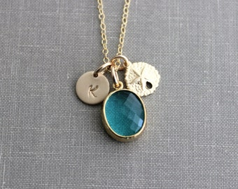 14k gold filled Gold Sand Dollar Teal Bezel Set Glass Oval with Gold Filled Initial Necklace, Personalized, Pale turquoise, Beach Jewelry
