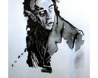 Original Ink Wash Drawing Nosferatu Portrait