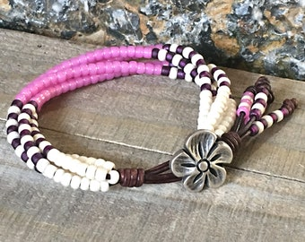 NEW Seed Bead Leather Wrap Bracelet/ Beaded Leather Wrap/ Boho Leather Bracelet/ Bohemian Bracelet.