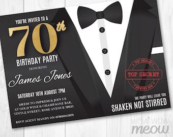Black tie invitation etsy 70th birthday invite seventy secret agent spy party invitation instant download 70 editable bond tuxedo black stopboris Images