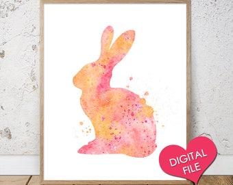 Rabbit - Nursery Printable - Animal Wall Art - Printable Animals - Bunny Watercolor Print - Watercolor Art Print - Rabbit Printable - Kids