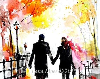 New York Love Watercolor Romantic Painting of Central Park - Art Print Watercolor - Lana Moes Art - Wanderlust Illustration