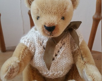 Soft Handmade Cream German Mohair Artist  Bear with Hand Knitted Alpaca Cream Sweater