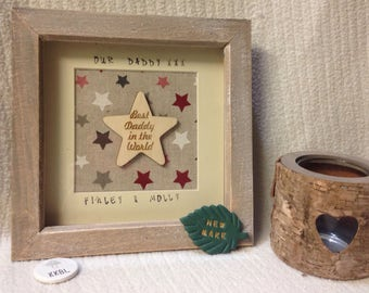 Personalised star daddy frame, our daddy frame, daddy star frame, personalised daddy gift, daddy frame, star daddy, daddy birthday gift