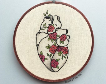 Rosey Heart - Contemporary Embroidery