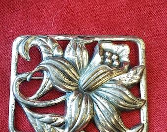 Danecraft floral brooch rectangular