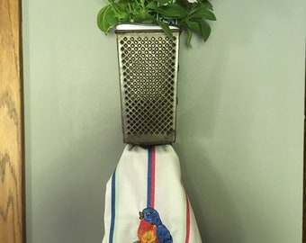 Cheese Grater Towel Holder and Planter