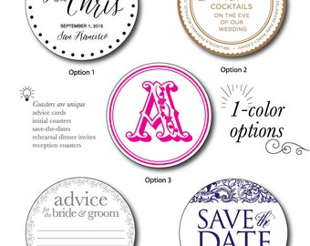 1 Color Letterpress Coasters; Save-the-Date Coaster, Reception Coasters, Advice Card for Bride and Groom, Initial Coasters