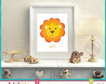 Nursery Wall Art, Zoo Animals Wall Art, Lion Wall Art, Printable Wall Art, Instant Download