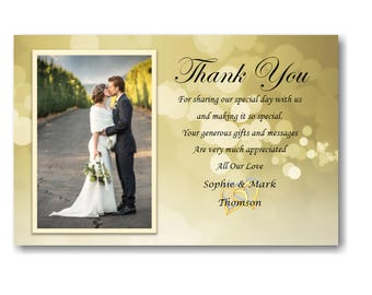 40 Personalised Wedding Day , Wedding Evening Thank You Thankyou Cards Ref W4 With self seal envelopes