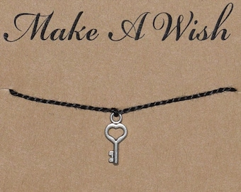 Key Wish Bracelet, Buy 3 Items Get 1 Free, Heart Key, Key Charm Bracelet, Key Heart Bracelet,