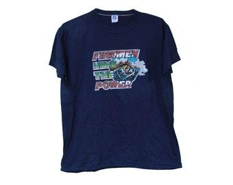 Vintage 80's Fireman T-shirt Size Large