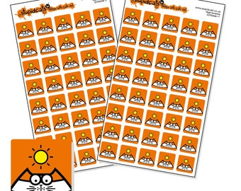 "Sunshine Planner Stickers - weather planner sticker sheet - square icon stickers 12mm / 0.5"" - 80 cat stickers - orange"