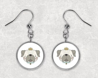 Pug Earrings/ Pug Lovers Gift/ Cute Pug Earrings/ Pug Illustration/ Dog Lovers Earrings/ Gift for Dog Lovers/ Adorable Pug/ Gift Under 20