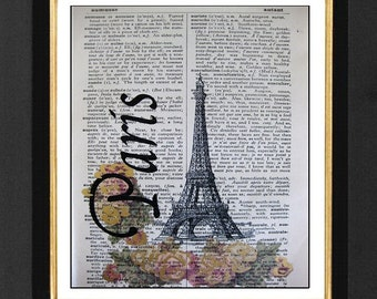 Eiffel Tower Paris- Paris Prints Mixed Media print on 5.5 x 8  Vintage French Dictionary page, French Dictionary art, Dictionary print