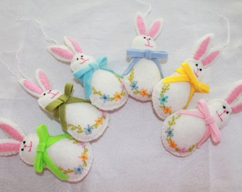 Handmade Felt Easter Hanging Ornament  Easter bunny with pastel color bow