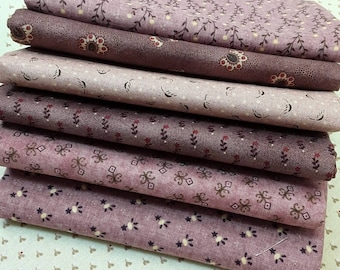 Fat Quarter Bundle of 6 Kim Diehl Quilt Fabrics In Pink and Mauve From Henry Glass Fabrics, Flowers, Leaves, Vines and Dots