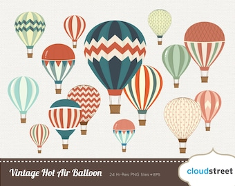 BUY 2 GET 1 FREE Vintage Hot Air Balloon clipart - hot air balloon clip art - hot air balloons vector illustration - commercial use ok