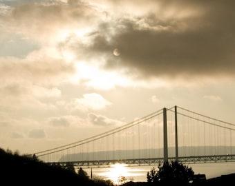 Home decor Tacoma Wall Art Sunset - Twin Bridges at Sunset a Fine Art Photograph - Ardent Photography