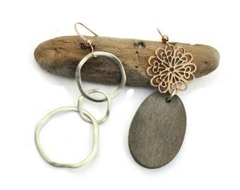 Asymmetrical earrings, Clip on earrings, Mismatched earrings, Asymmetric, Rose gold jewelry, Silver earrings, Wood earrings, For her, UD8