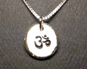 Om Necklace,Organic Rustic Recycled Sterling Silver Om Jewelry