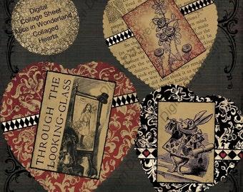 Instant Download Alice in Wonderland Digital Printable Collage Sheet - Printable Valentines Collaged Hearts