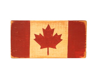 Canada Flag Block - canadian decor - canadian decoration - cottage decor - lake house decor - canadian wood block - canadian wooden block